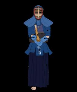 Ein Kendōka in Rüstung
